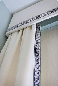 Greek Key Trim Curtains and Cornice Custom QUICK SHIP Fabric custom length and width designer trimmed curtains ribbon trim cornice curtains