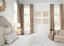 CUSTOM curtains beige curtains with ivory stripes colorblock curtains pleated or flat taupe curtains tan and white curtains custom drapes