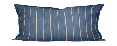 Indigo Stripe Lumbar Pillow Cover Thin stripe indigo pillow Lumbar, blue white stripe, indigo pillow cream stripe, boho pillow striped blue