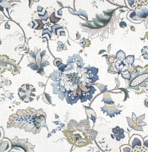 Jacobean curtains blues curtains large floral curtains flower drape curtains custom curtain panel pleated grommet clip ring damask blue navy