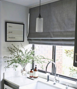 CUSTOM Roman shades linen grey gray natural white offwhite ivory roman shade bathroom relaxed linen window shade linen shade blackout