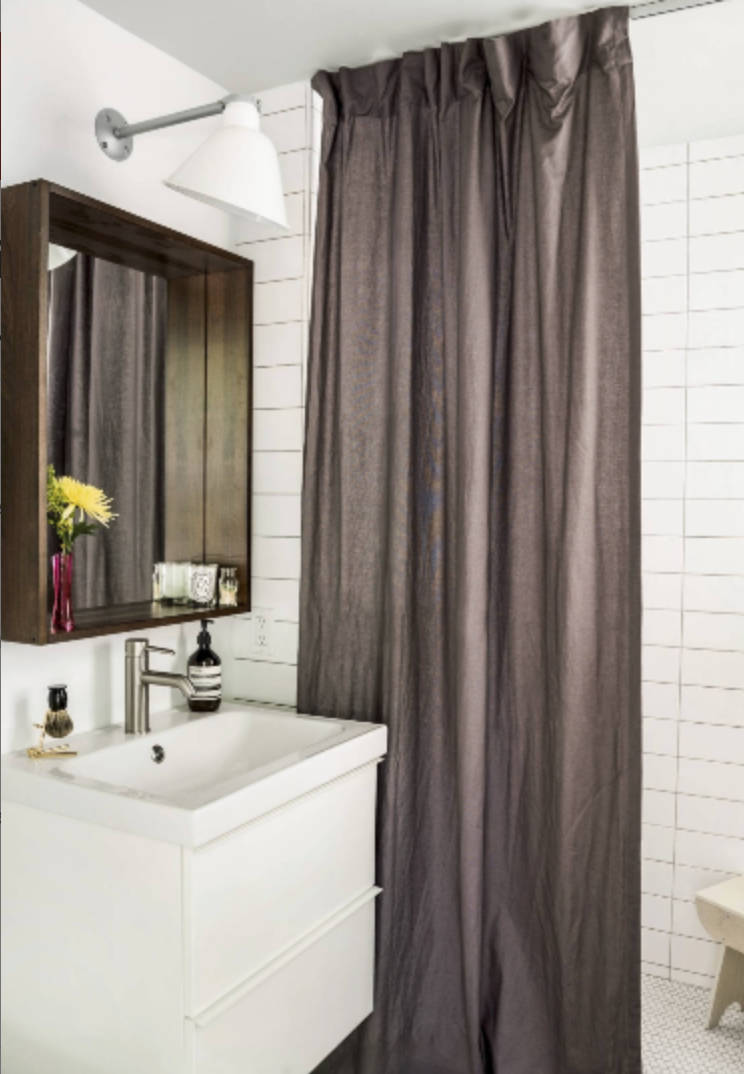Long Shower curtain linen brown custom fabric shower curtain extra long farmhouse shower curtain natural burlap masculine shower modern grey