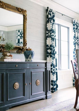 Schumacher curtains Garden of Persia curtains Navy white curtains blush curtains brown curtains Dove gray curtains Mary McDonald DRAPERY