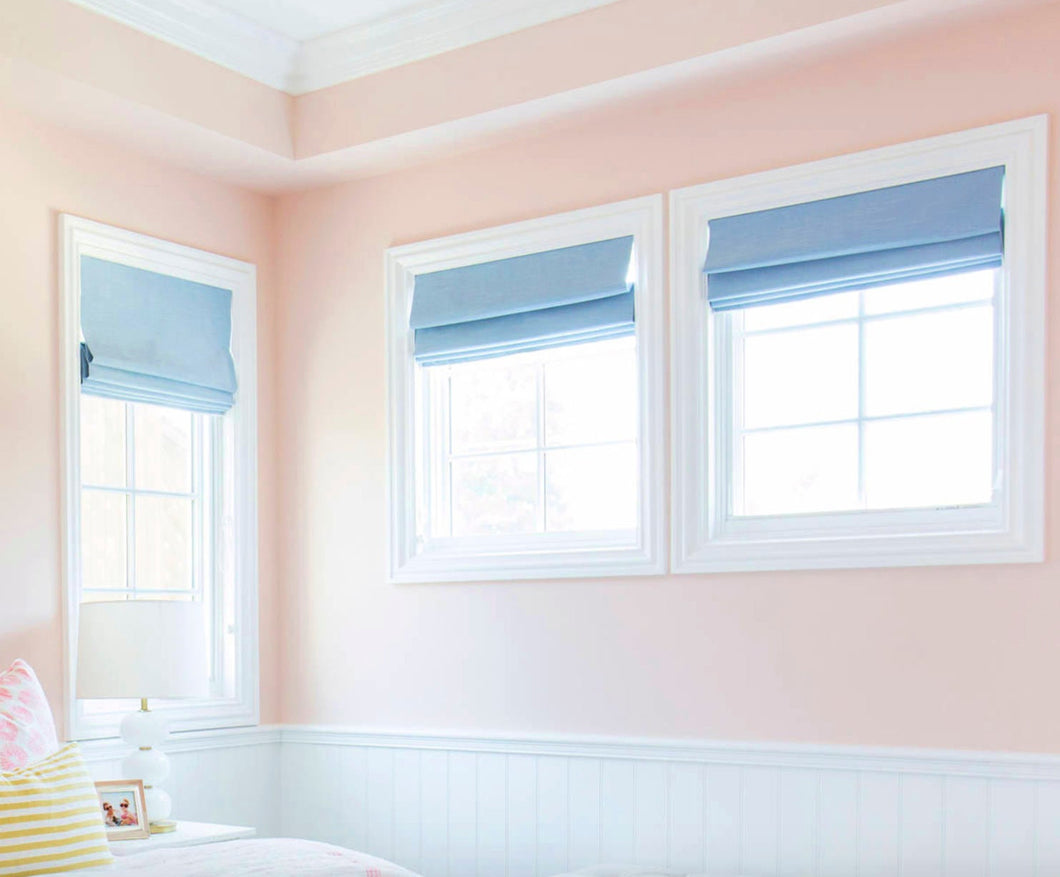 Roman shades blue roman shade blue custom sizes CORDLESS QUICK SHIP blue window shades blackout light blue linen shades french door shades