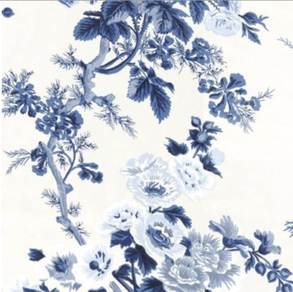Pyne Hollyhock Wallpaper Schumacher Wallpaper Toile Wallpaper Blue