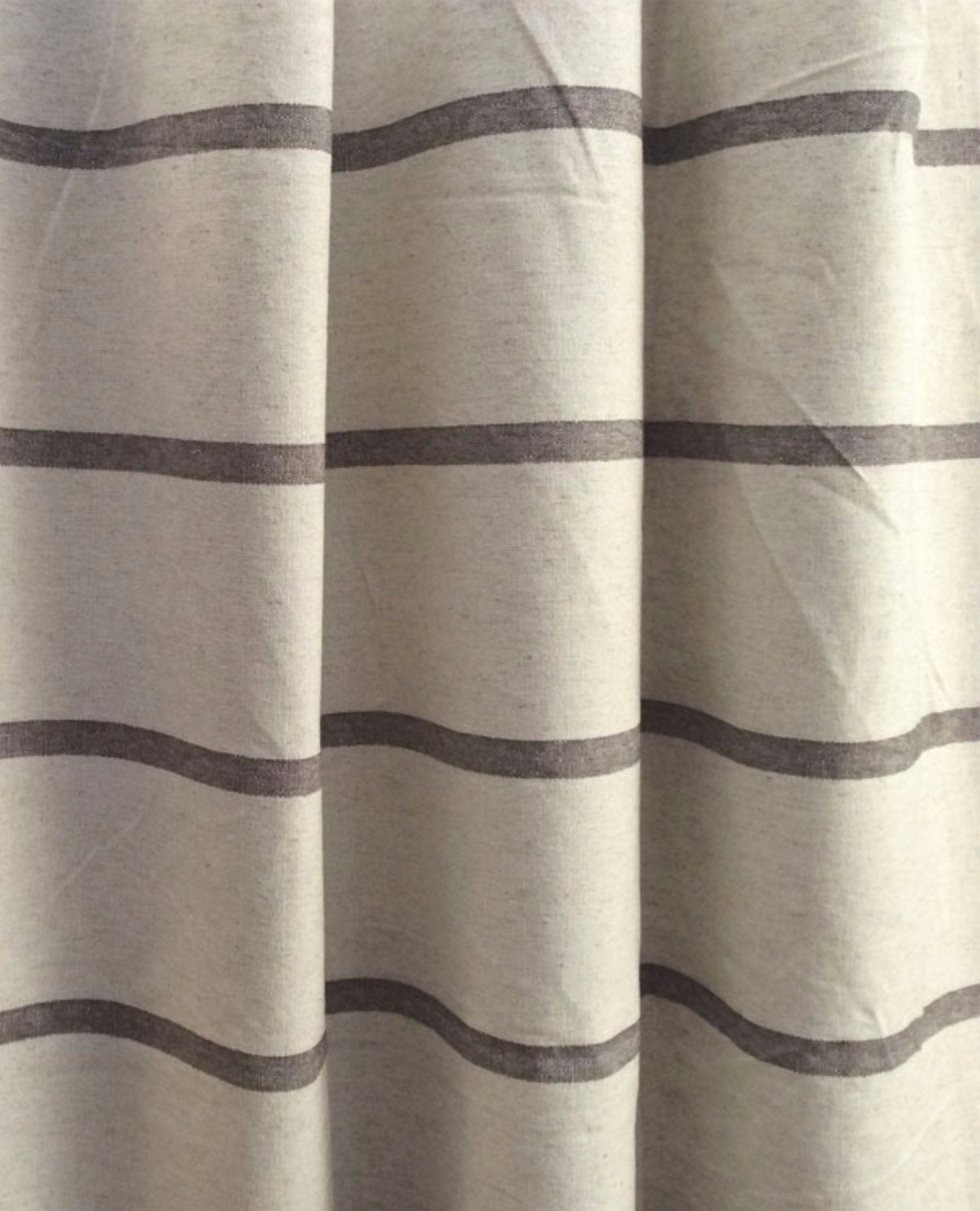 Modern Farmhouse Shower Curtain Stripe Brown Ticking Striped Fabric Extra