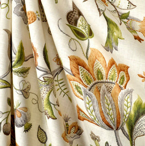 Jacobean curtains green orange beige curtains floral curtains ivory flower drape curtains custom curtain panel pleated bedroom curtains