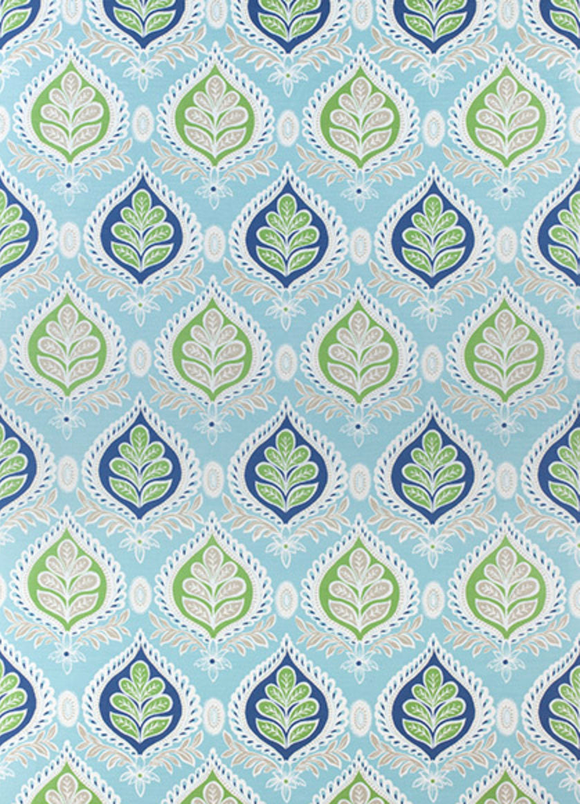 BLUE Green curtains blue ikat curtains THIBAUT curtains curtain panels light blue and white drapes lotus curtains flower l