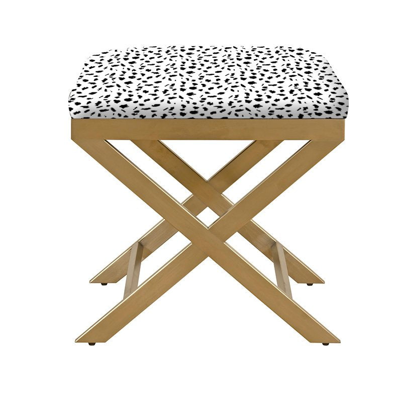 Upholstered X Bench Brass with dalmatian print fabric ottoman velvet bench gold legs upholstered bench black dots custom ottoman custom