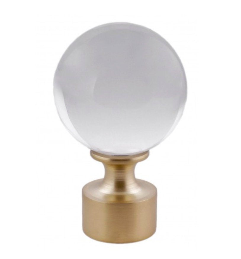 Lucite Finial Lucite Rod End Cap Endcap Brass Curtain Rod Finial Brass curtain finial Gold Curtain Round Acrylic Finial Curtain clear lucite