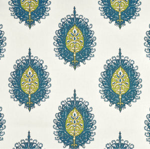 Blue green curtains Medallion curtains One Room Challenge curtains blogger curtains block print curtains paisley curtains custom sizes long