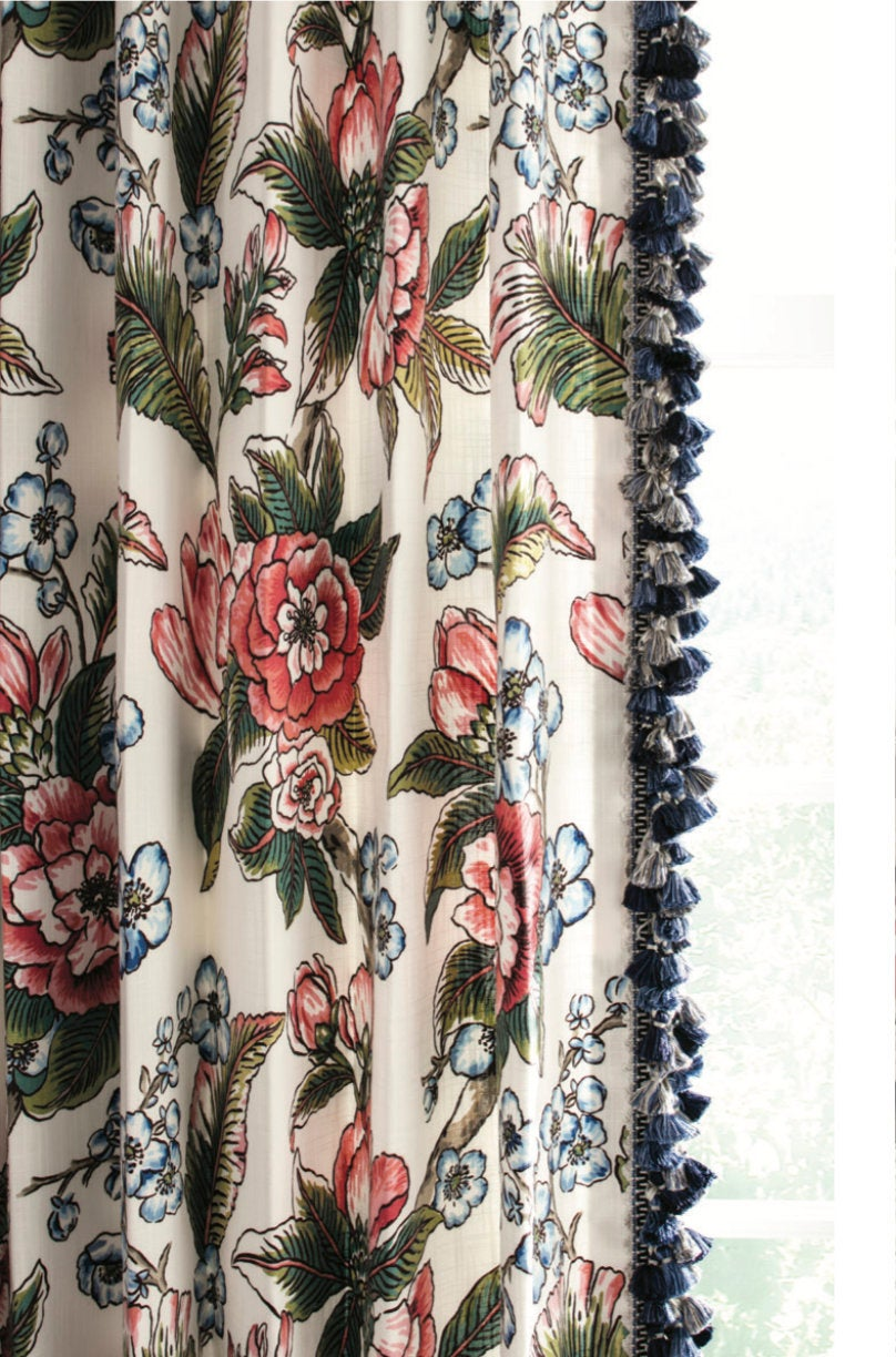 Curtains with Tassels Floral pink blue curtains with trim line botanical curtains cherry blossom curtains jacobean curtains red blue navy
