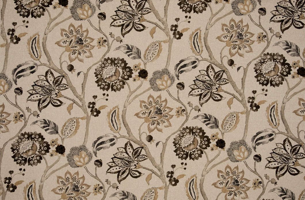 Brown and black curtains Clarke and Clarke Curtains Floral curtains tan curtains beige black curtains neutral floral curtains greige khaki