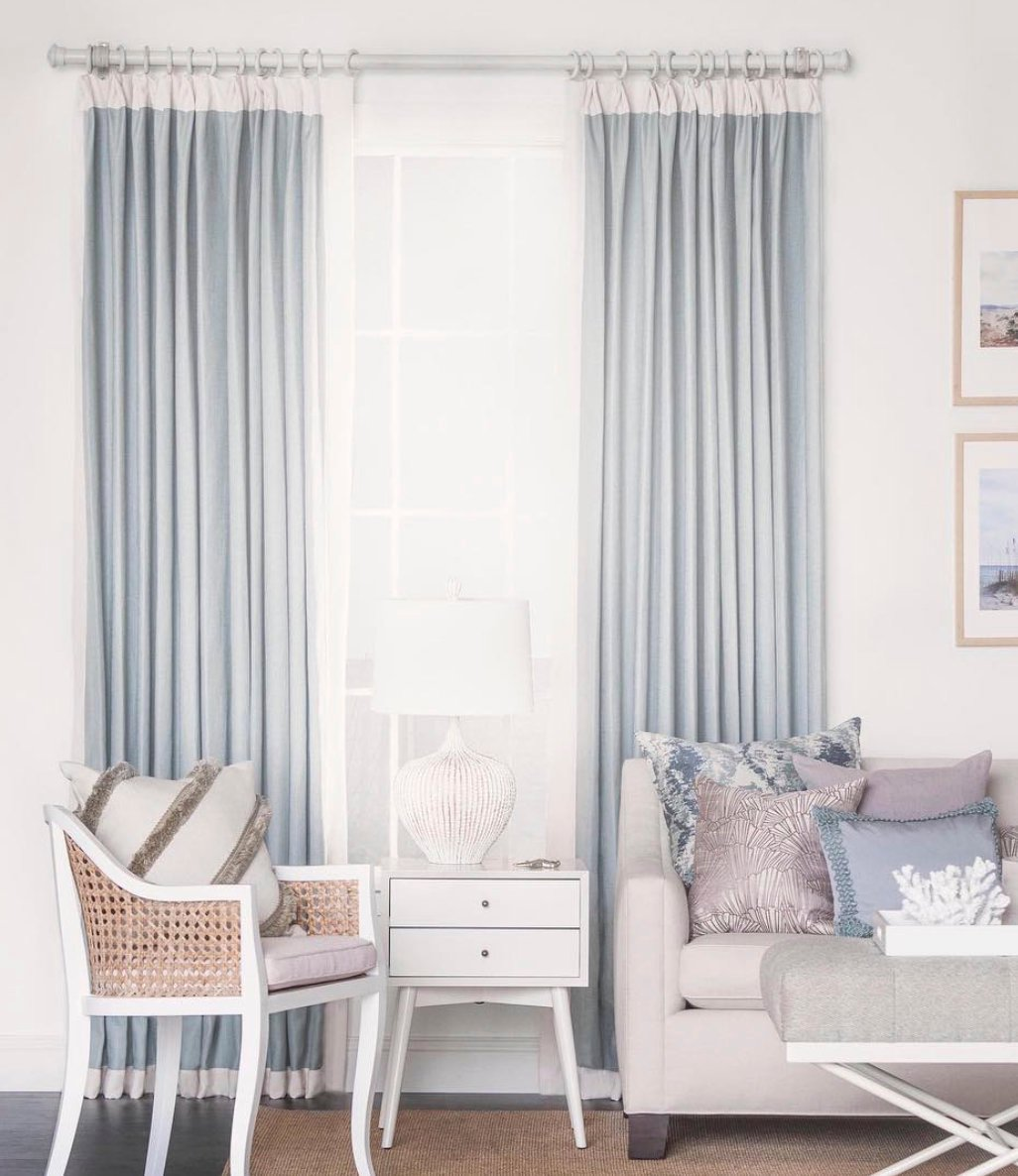 Color Block Curtains Color Banded Curtains Pale Blue