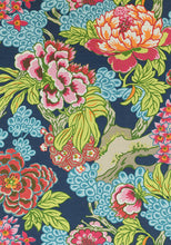 Blue Green Curtains THIBAUT curtains blues curtain panels thibaut drapery teal chinoiserie curtains large floral curtains blue floral Honshu