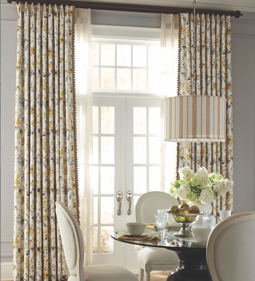Modern farmhouse curtains grey floral curtains with yellow drapes curtains custom curtain panels grey curtains extra long curtains wide