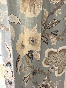 Schumacher curtains Hothouse flowers curtains floral print curtains custom curtain panel pleated grey beige floral curtains drapes gray tan