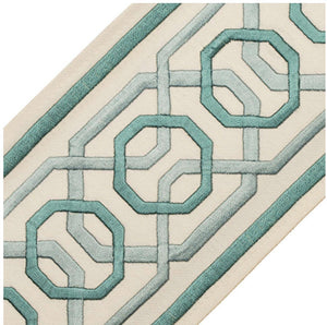 "Samuel & Sons Trim curtains with trim wide trim tape trim aqua greek key trim green curtains wide tape 4"" inch trim ODORI embroidered border"
