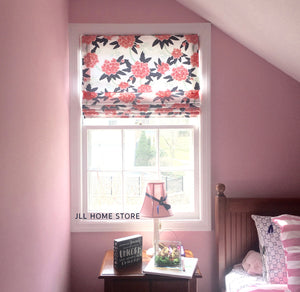 Nursery Roman shades cordless CUSTOM peony curtains floral roman shade navy and pink fleur curtains pink floral window shade flowers peonies