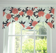 Floral valence peony pink and navy valance girls room fleur flower scalloped valance blue pink green rod pocket valence rod pocket shade