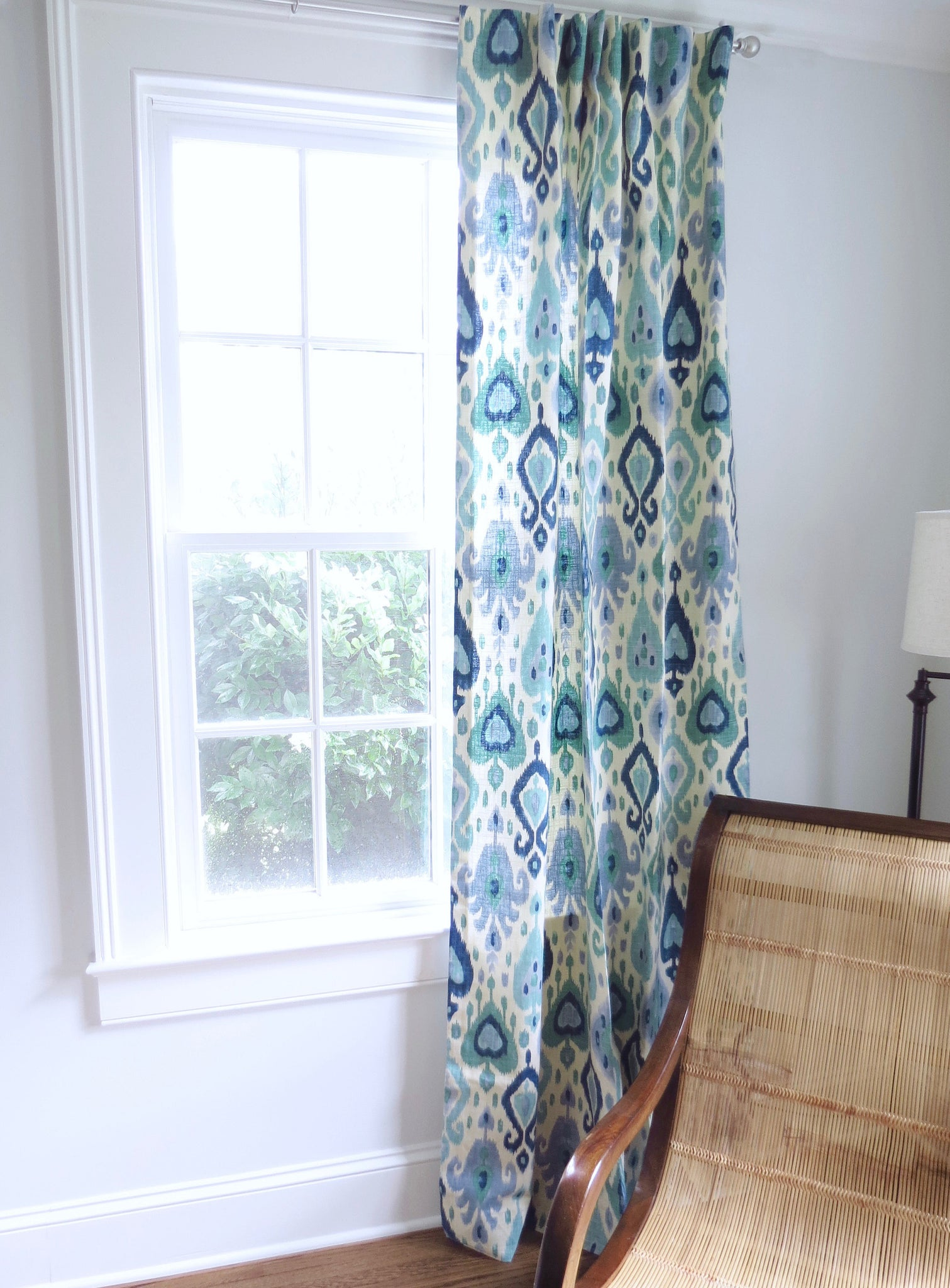 blue green curtains ikat curtains blue ikat fabric curtain panels blue jll home. Black Bedroom Furniture Sets. Home Design Ideas