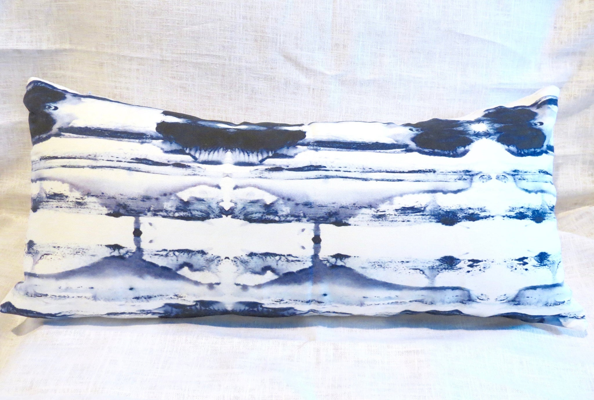 Sale Blue Waves Pillow 12x24 Lumbar Only Two Left Navy And White
