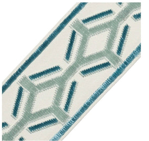 Samuel & Sons Trim ORLY curtain trim wide trim tape wide pink greek key trim aqua velvet trim wide tape curtain trim embroidered border trim