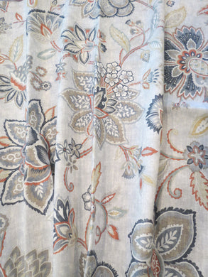 Gray floral curtains persimmon orange paprika orange and grey curtains large floral curtains grey slate grey beige curtains jacobean curtain