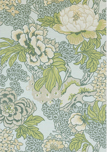 Robins Egg Blue curtains THIBAUT curtains Green blue curtain panels thibaut drapery green chinoiserie curtains large floral curtains Honshu