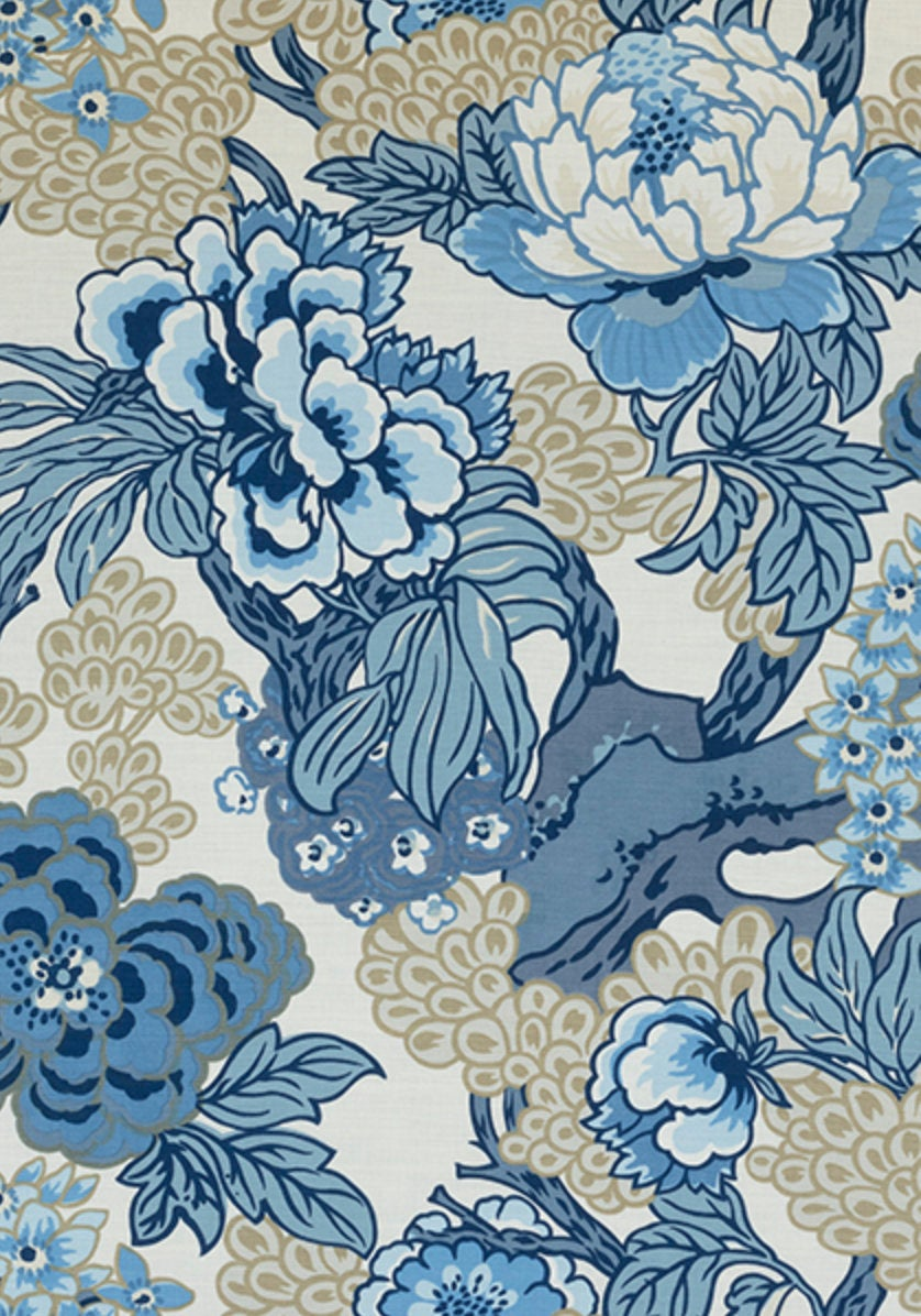 Blue Beige Curtains THIBAUT curtains blues curtain panels thibaut drapery blue chinoiserie curtains large floral curtains blue floral Honshu
