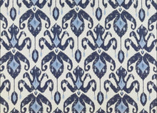 Blue Ikat Faux Roman Shades or Functioning Roman Shades Kitchen Custom Fabric custom window Navy white kitchen blue valance blue valence