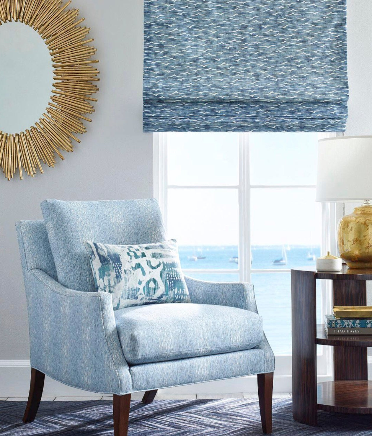 Nautical Curtains Beach House Jeffrey Alan Marks Angelus Fabric Ocean Pacific Blue Kravet