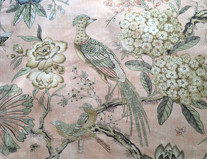Blush curtains blush floral curtains pink jacobean curtains blush floral pheasant drapes blush curtain panel pink bedroom curtains soft pink
