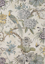 Jacobean curtains THIBAUT curtains custom curtain panels yellow gray curtains grey yellow curtains traditional curtains peacock floral