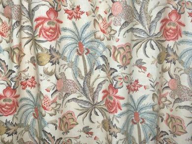 Jacobean Curtains Aqua Coral Rose Pink Ivory Floral Dining Room Drapes Curtain Panels Long