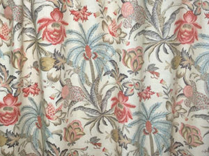 Jacobean curtains aqua coral rose pink ivory pink aqua floral dining room drapes curtain panels long wide curtains palm tree curtains linen