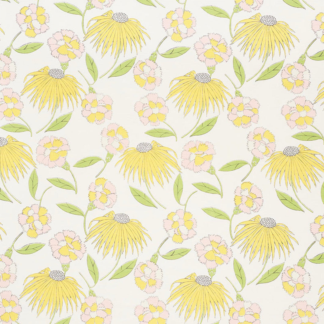 Schumacher curtains Celerie Kemble curtains bouquet toss fabric yellow pink curtains yellow floral curtains pink yellow floral lemonade