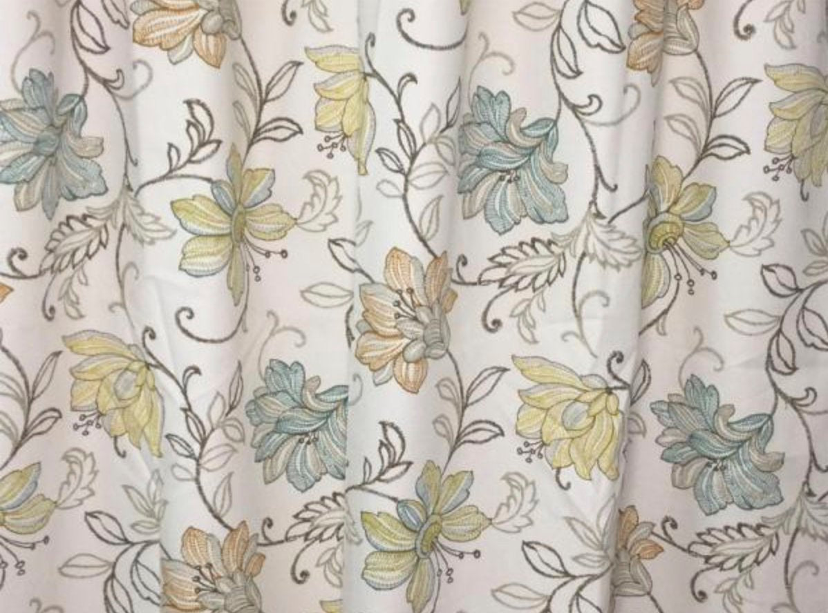 Custom Curtain Panels Blue Green Beige Floral Large Pattern Floral Cur Jll Home