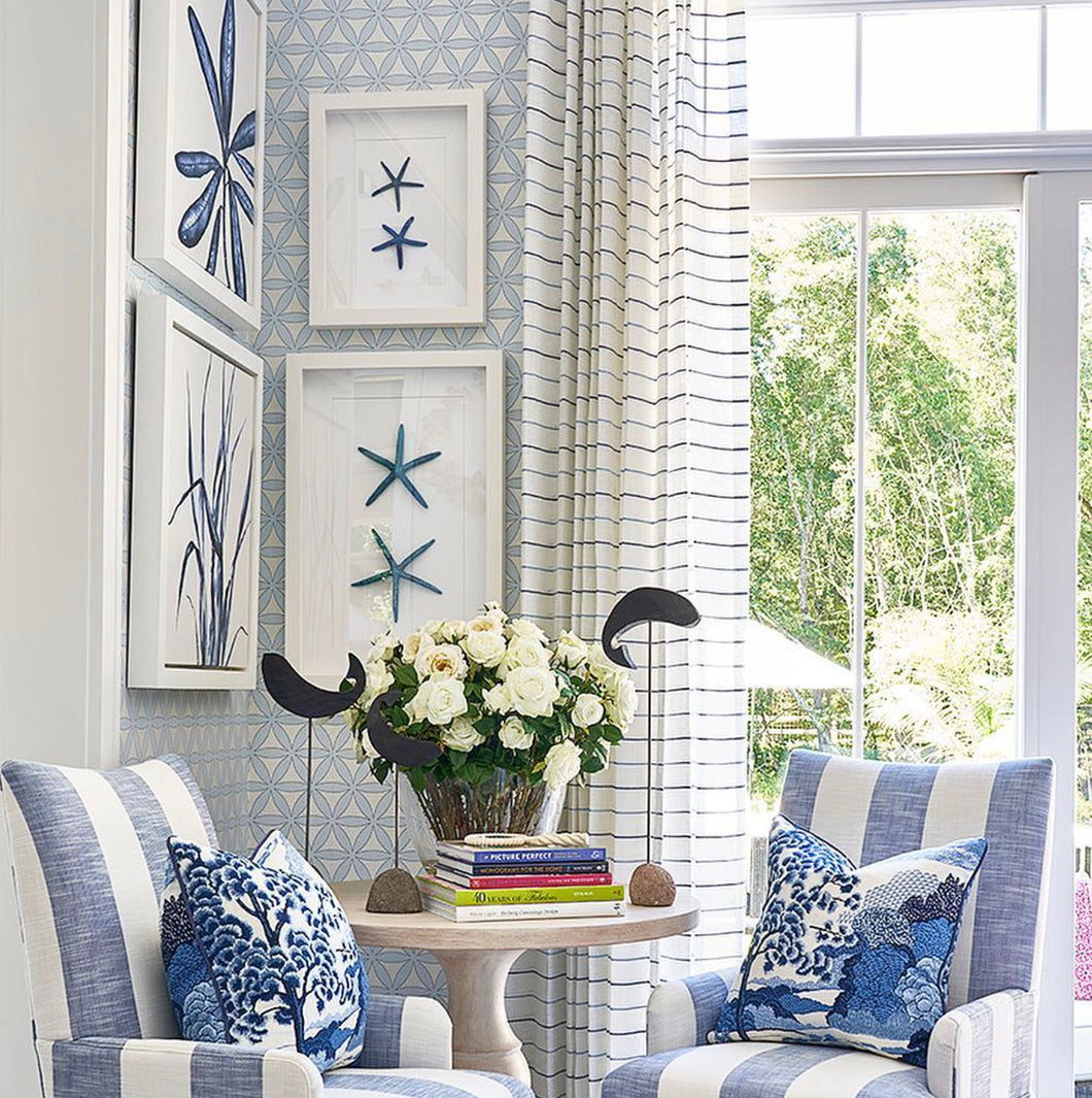 Blue and white Striped curtains blue and white linen curtains drapes drapery navy stripe curtains designer curtain panel extra long blue
