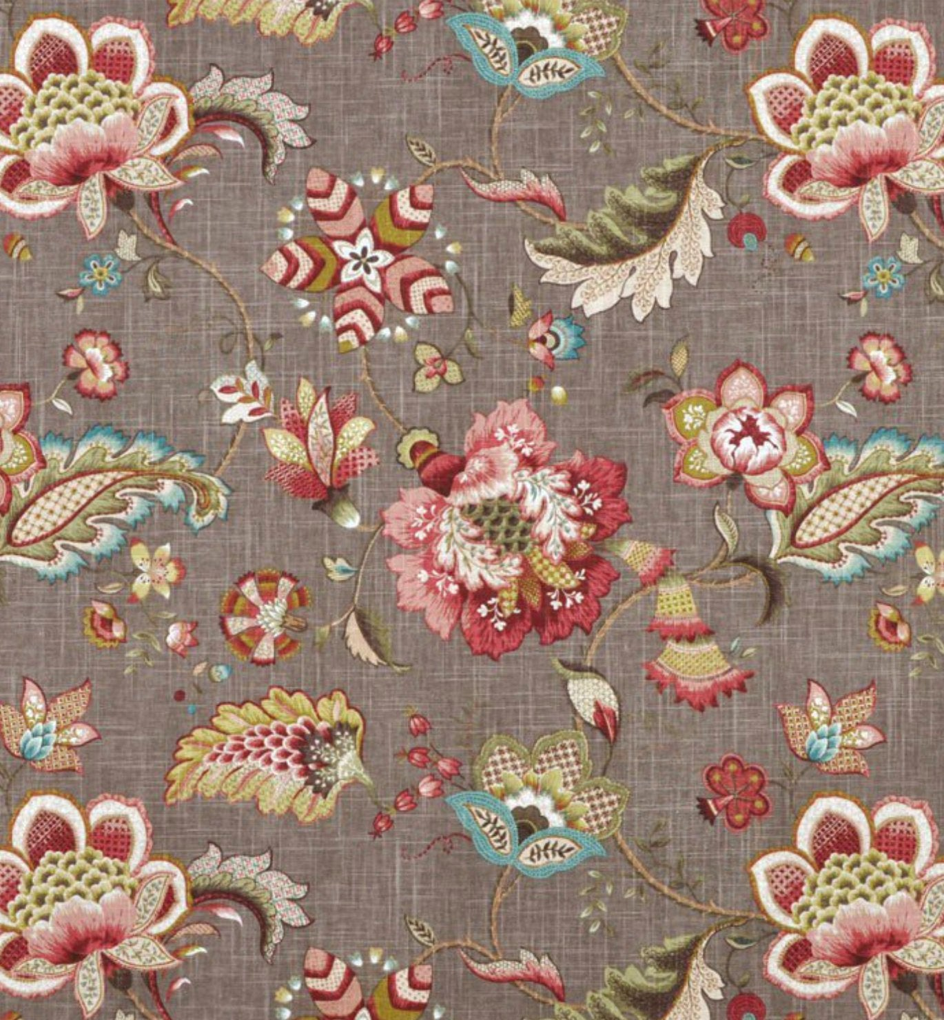 Curtain Panels Grey Green Pink Red Brown Modern Floral Curtains