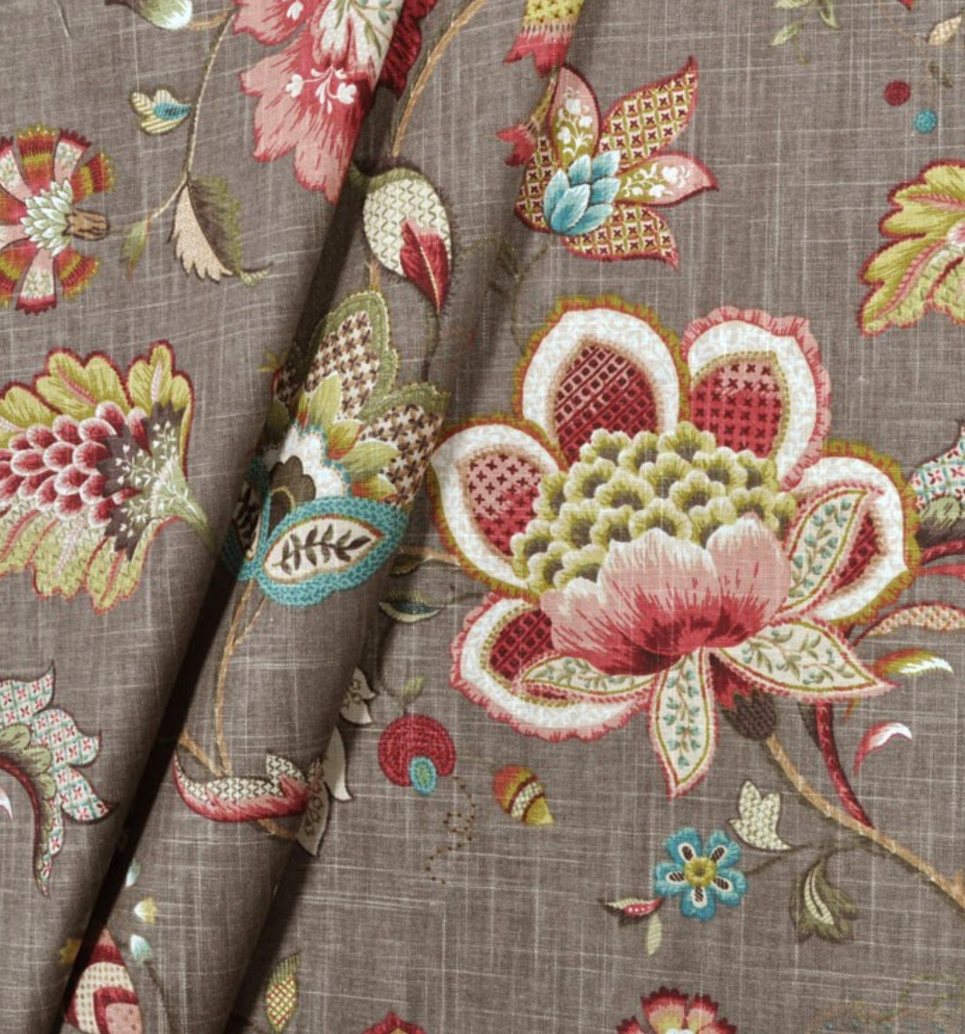 Curtain panels grey green pink red brown modern floral ...