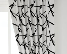 QUICK SHIP Black white lines curtains ribbon curtains black white curtains geometric channels curtains boho curtains modern curtains black