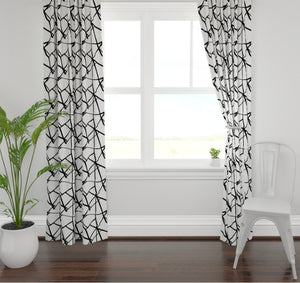 Black white lines curtains ribbon curtains black white curtains geometric channels curtains boho curtains modern curtains black linear white