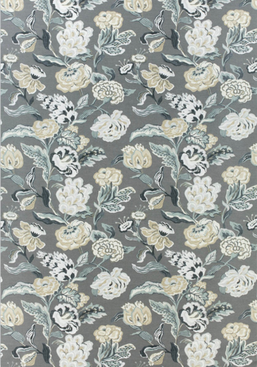 Curtain panels Grey Floral curtains THIBAUT curtains large floral curtain panels jacobean drapes oriental curtains floral grey floral