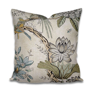 SALE Thibaut Villeneuve FLOWERS pillows 18x18 charcoal gray yellow purple pillow thibaut pillow villeneuve pillow grey yellow gray blue
