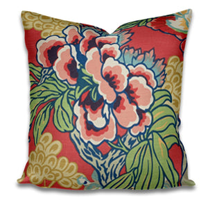 SALE Thibaut Honshu Coral Green pillows 22x22 Only two left honshu pillow cover large floral pillow pink green blue yellow pillow