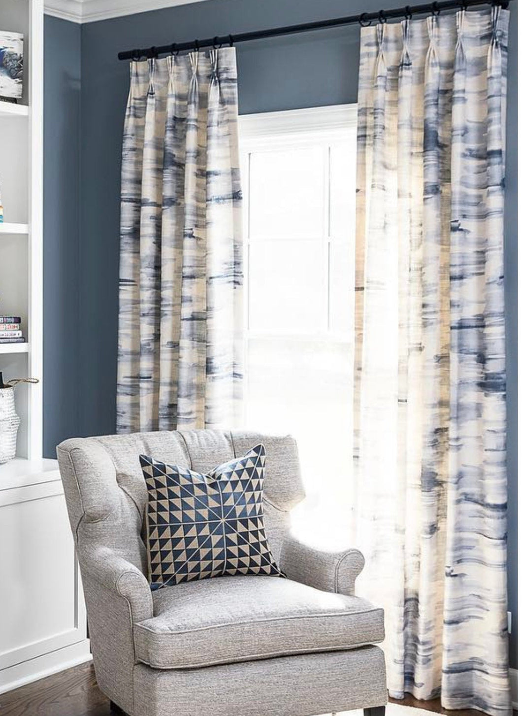 Blue White Curtains Gray White Drapes Curtain Panels Watercolor Print Jll Home