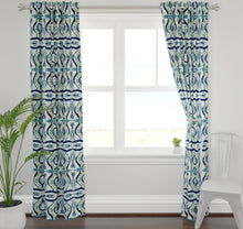 Blue green curtains navy teal white curtains blue green ikat drapes curtains navy green curtains navy curtains long extra wide portobello