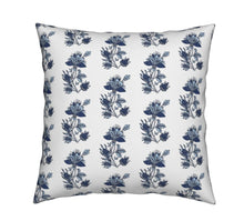 Block print floral pillow indian flower pillow french blue floral pillow indian dandelion santorini blue pillow cover french floral pillow