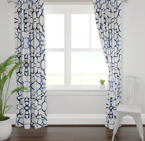 Navy white curtains brush paint stroke curtains blue white curtains ikat curtains boho curtains modern curtains white blue curtains dining